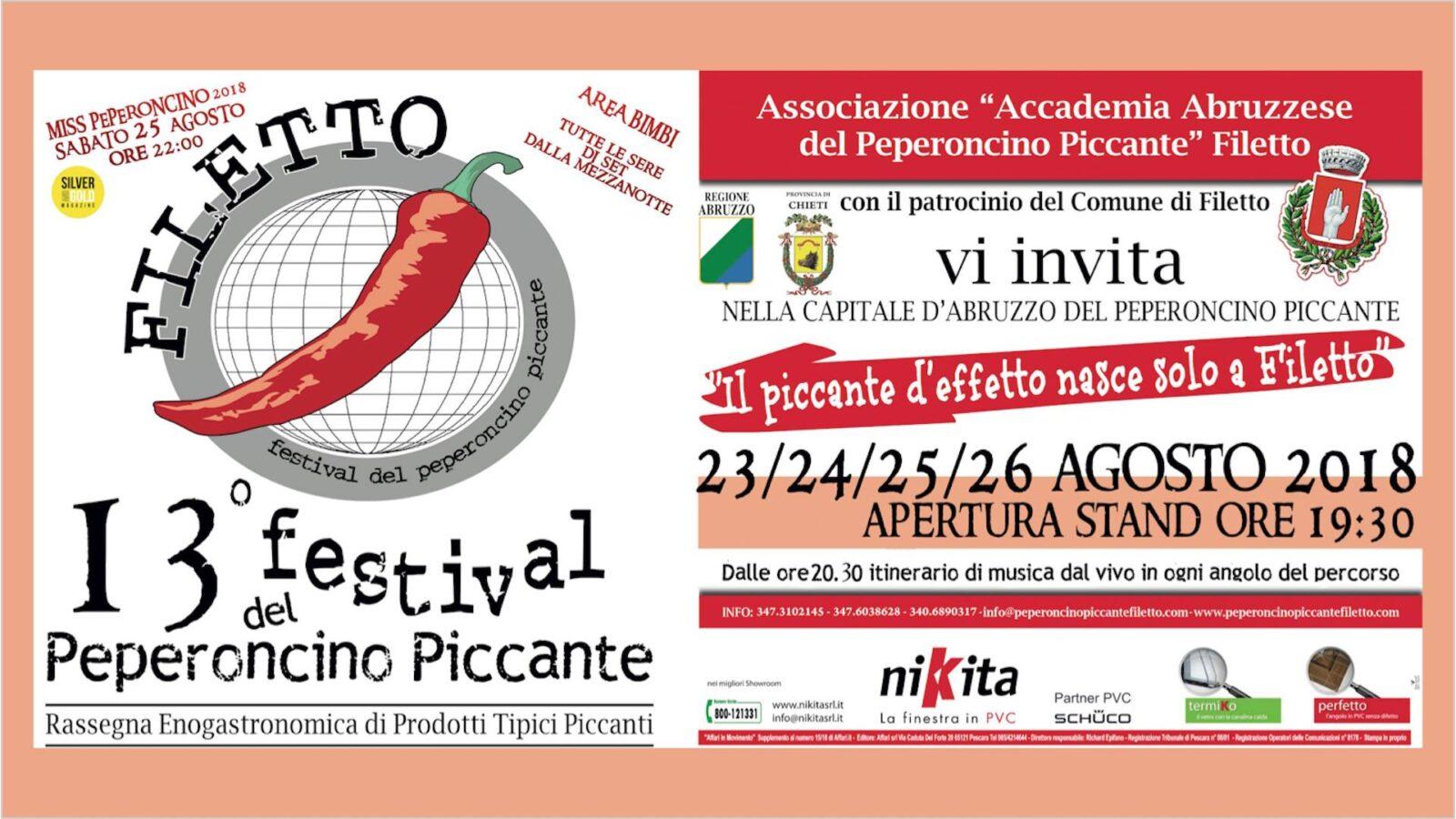 Sagre in Abruzzo. Festival del Peperoncino Piccante 2018 a Filetto