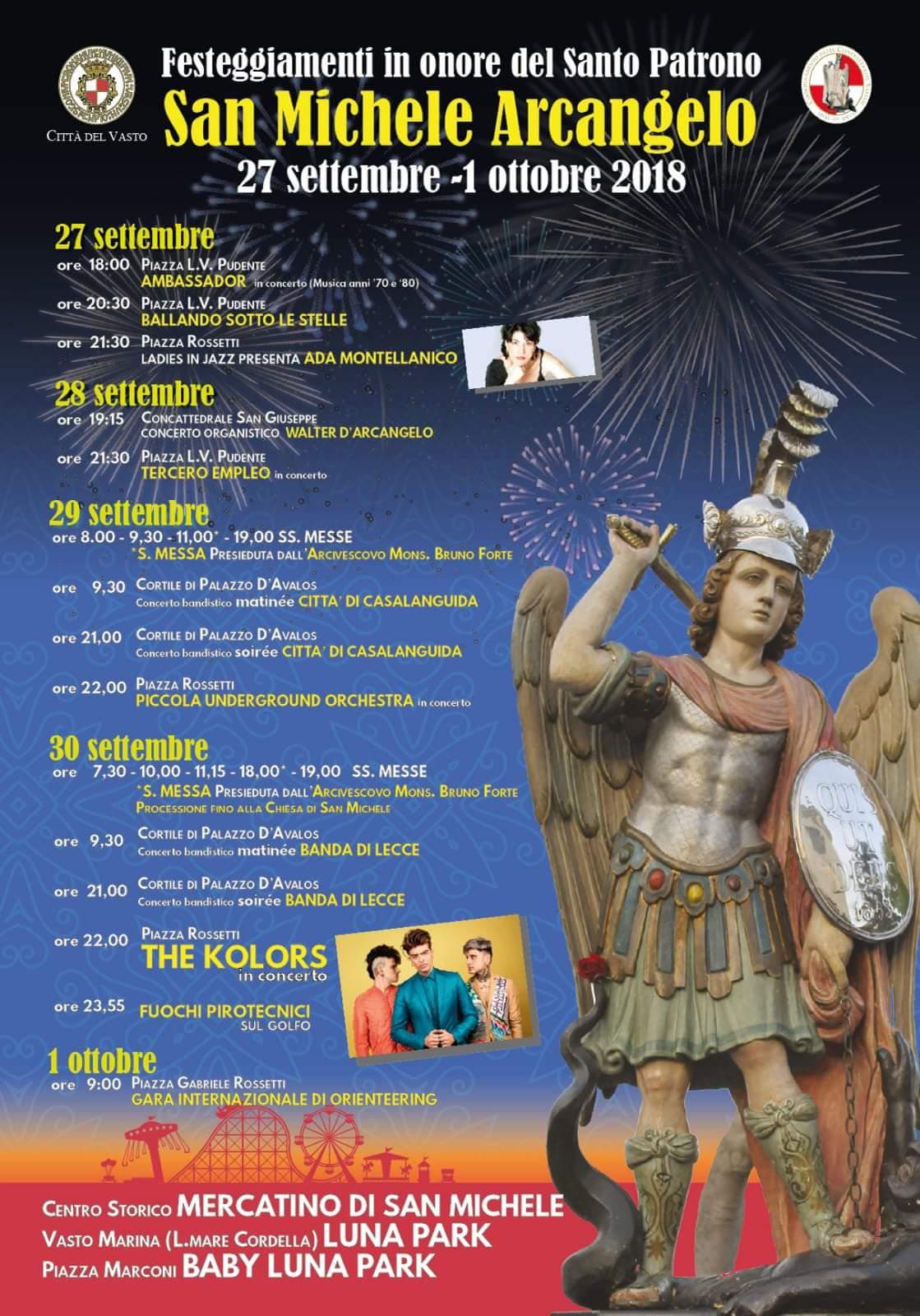 Eventi a Vasto. Festività di San Michele 2018, ecco il calendario completo