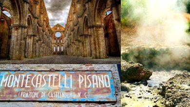 Itinerario in Toscana. Fumarole Sasso Pisano, Montecastelli, la Spada nella Roccia nell'Abbazia di San Galgano